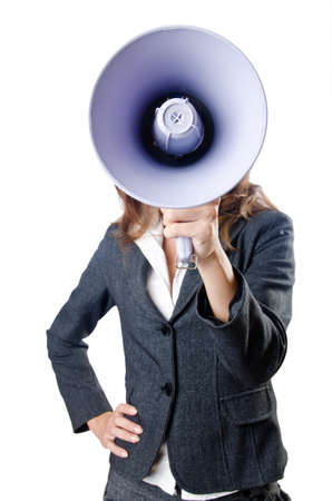 Businesswoman with loudspeaker on white photo