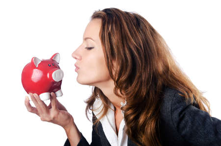 Woman with piggybank on white Stock Photo - 14793003