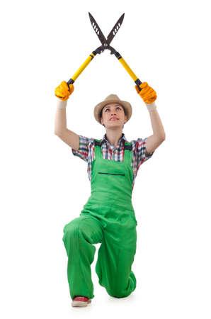 pruning shears: Girl with garden scissors on white