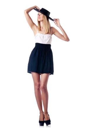 Fashion concept - woman on white photo