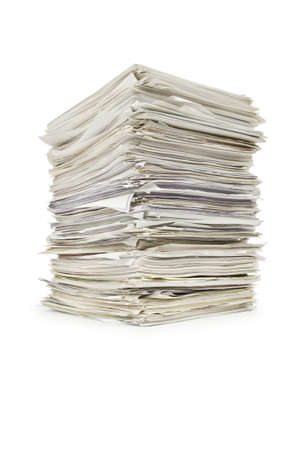 Pile of papers on white Stock Photo