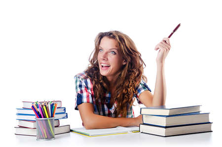 Student preparing for the exams photo
