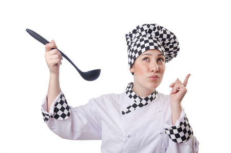 Woman cook with ladle on white photo