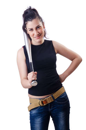 Woman criminal with bat on white Stock Photo - 14794085