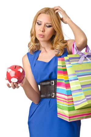 Girl spending all savings on shopping photo