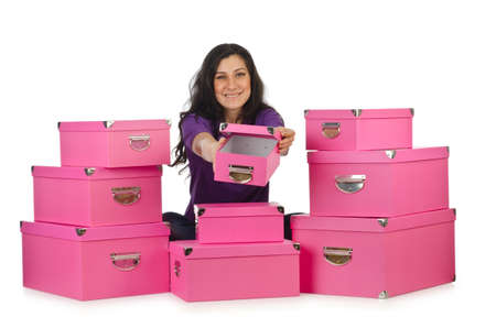 Girl with stack of giftboxes Stock Photo - 14908883