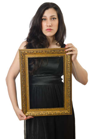 Woman with picture frame on white Stock Photo - 14909495