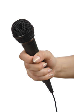 Hand with microphone on white Stock Photo - 14875019