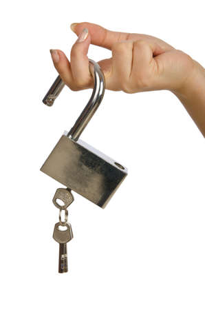 Hand with padlock isolated on white photo