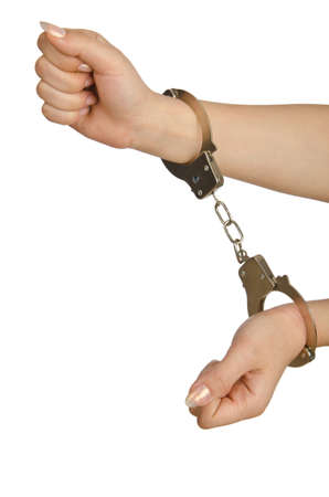 Handcuffed hands on white background Stock Photo - 14874978