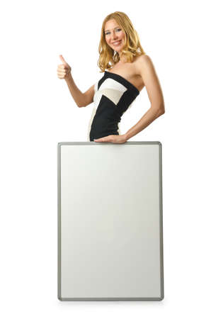 Woman with blank board on white photo