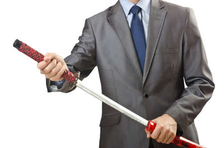 Businessman with sword on white Stock Photo - 14879604