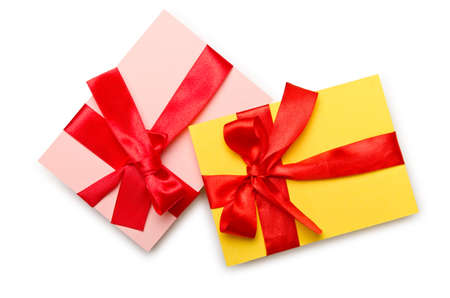 Envelope with colourful ribbon on white photo