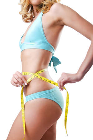 Young lady with centimetr in weight loss concept Stock Photo - 14879622