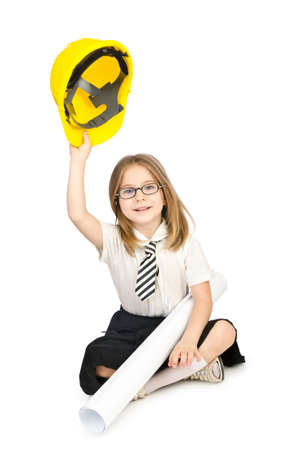 Cute girl with helmet on white photo