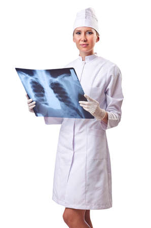 Woman doctor examining x-ray on white Stock Photo - 14908791
