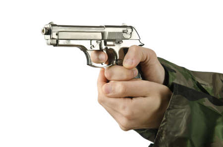 Gun in the hand on white Stock Photo - 14875045
