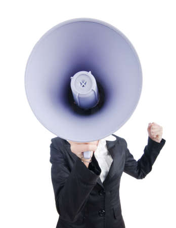 Young business lady screaming to loudspeaker Stock Photo - 14875025