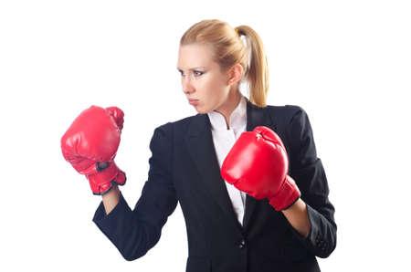 Woman boxer isolated on white photo