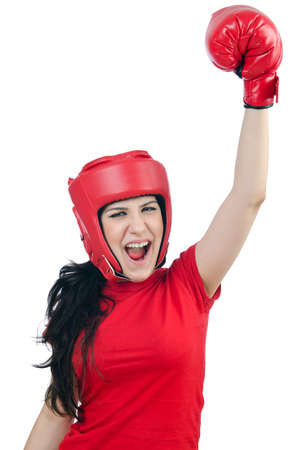 Woman boxer on white background photo