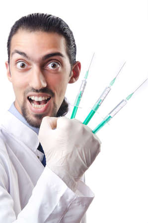 Crazy doctor in funny medical concept photo