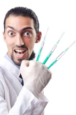 crazy people: Crazy doctor in lustigen medizinisches Konzept