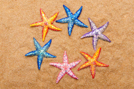 Sea stars on the sand photo