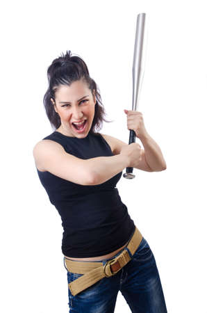 Woman criminal with bat on white Stock Photo - 14908802