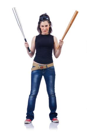 Woman criminal with bat on white Stock Photo - 14908609