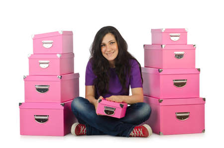 Girl with stack of giftboxes photo