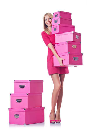 Woman with stack of giftboxes Stock Photo - 14999819