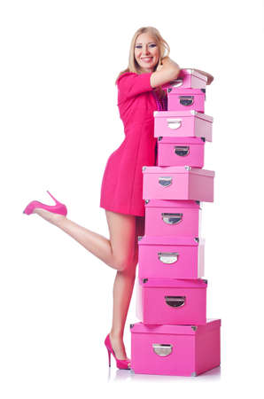 Woman with stack of giftboxes Stock Photo - 14999874