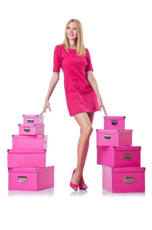 Woman with stack of giftboxes Stock Photo - 14999941