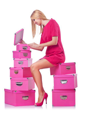 Woman with stack of giftboxes Stock Photo - 14999793