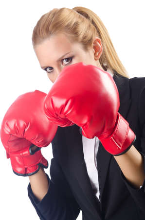 Woman boxer isolated on white photo
