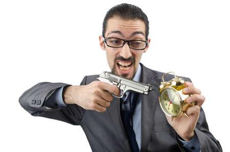 Businessman killing the time on white photo