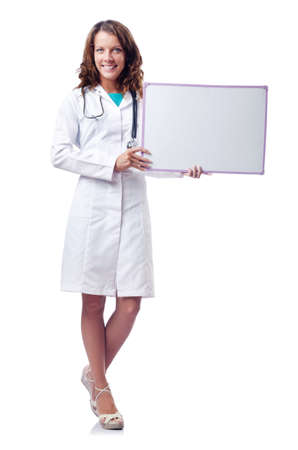 Woman doctor with blank board photo