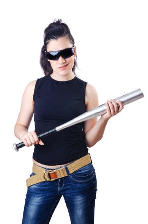 Woman criminal with bat on white photo