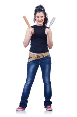 Woman criminal with bat on white Stock Photo - 14999563