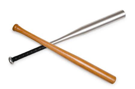 metal base: Baseball bat isolated on white