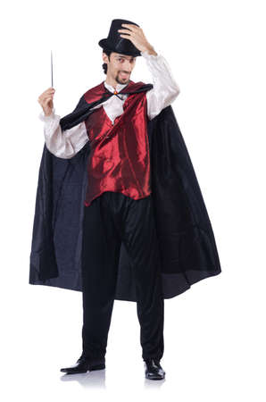 magicians: Magician isolated on the white background Stock Photo