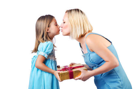 Happy mom and daughter on white Stock Photo - 15129528