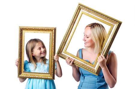 Happy mom and daughter on white Stock Photo - 15130007