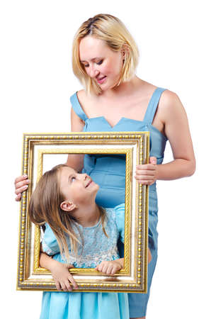 Happy mom and daughter on white Stock Photo - 15130006
