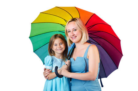 Happy mom and daughter on white Stock Photo - 15129704