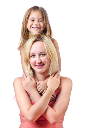Happy mom and daughter on white Stock Photo - 15129619