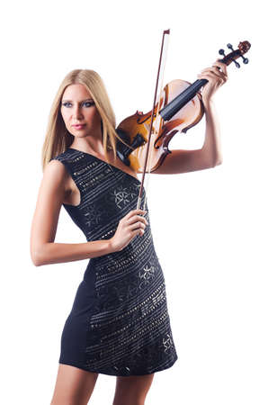 Young woman playing violin on white photo