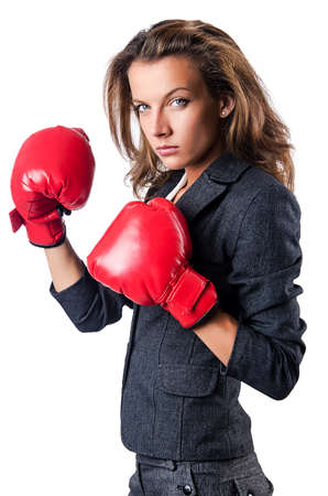 Angry businesswoman with boxing gloves Stock Photo - 15130210