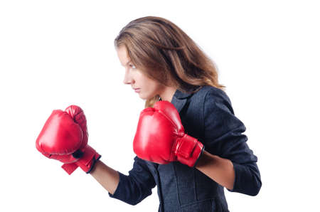 Angry businesswoman with boxing gloves Stock Photo - 15129290