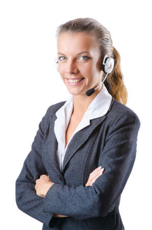 Call center operator isolated on white Stock Photo - 15130134